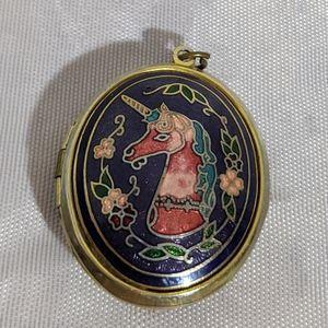 Vintage Purple Pink & Gold Unicorn Locket Pendant
